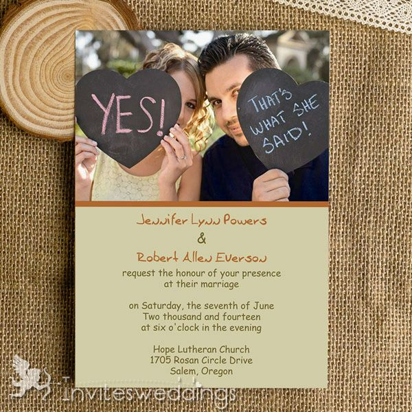 Affordable Funny Simple Photo Wedding Invitations IWI318 Wedding