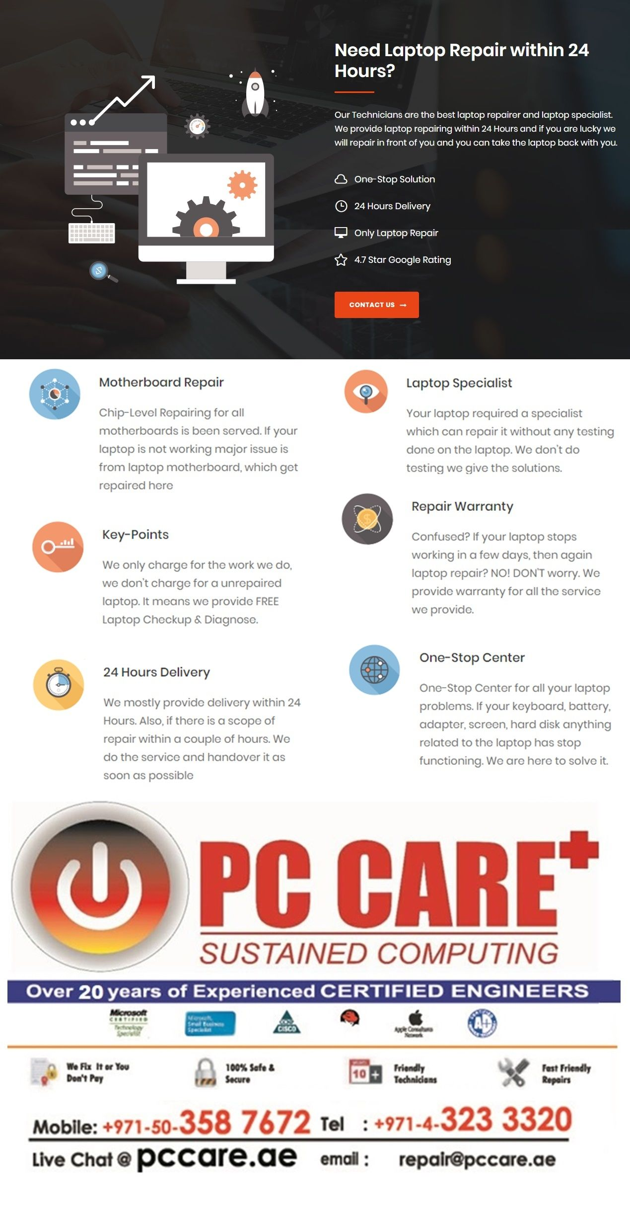 Do you need your laptop perfectly repair? Pccare Dubai