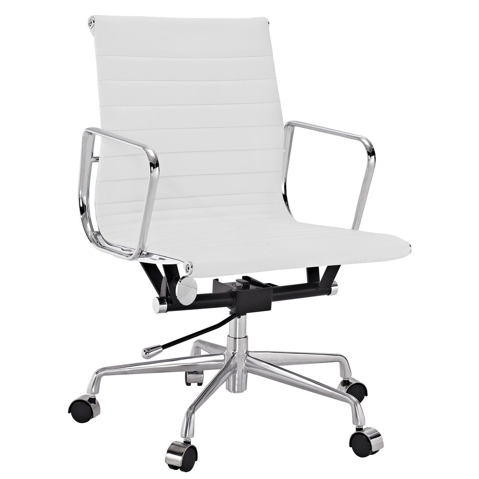 Lexmod Ribbed Mid Back Office Chair In White Genuine Leather