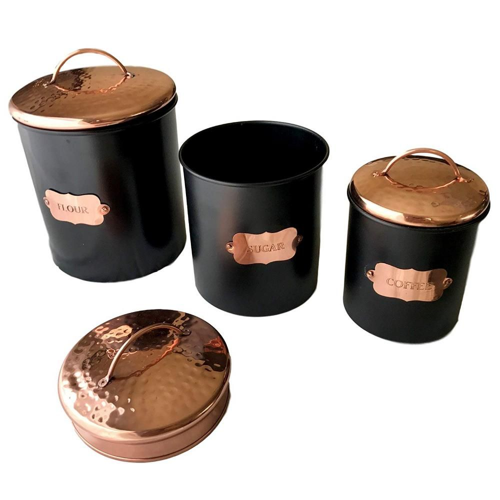 Kauri Design 3 Piece Matte Black Food Canister Set With
