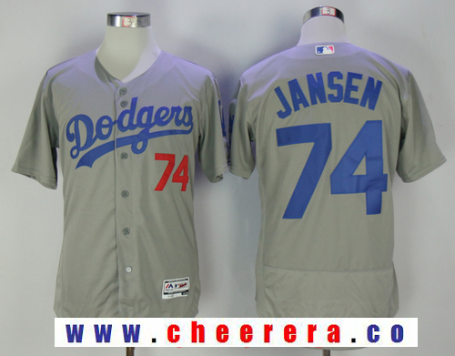 4855b6ef4 ... switzerland mens los angeles dodgers 74 kenley jansen gray stitched mlb  majestic flex base jersey 73c3c