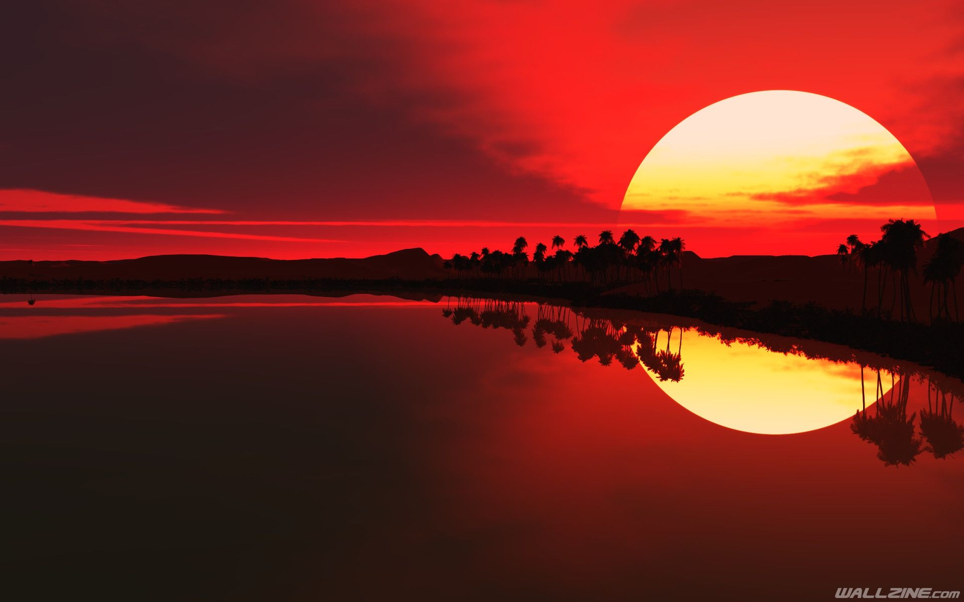 Red Sunset Artwork Wallpaper