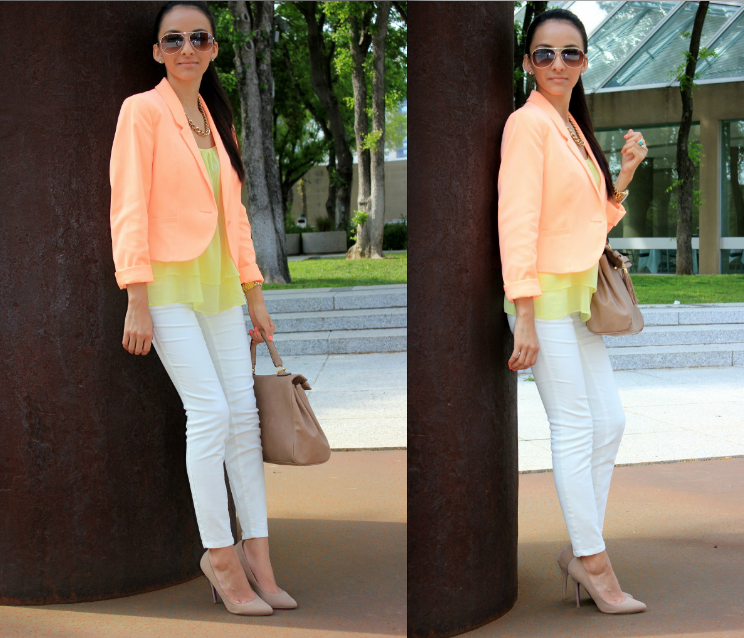 white pants + bright blazer