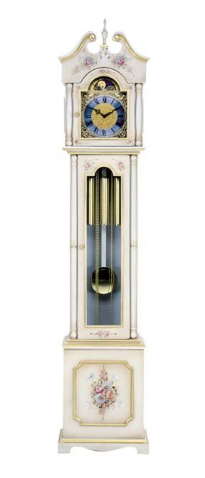 Grandfather Clock Lacquered Color White Antique With Gold