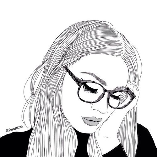 Art Black And White Drawing Fashion Girl Grunge Outline B W