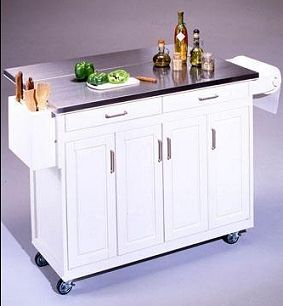 Movable Kitchen Island With Fold Down Breakfast Bar