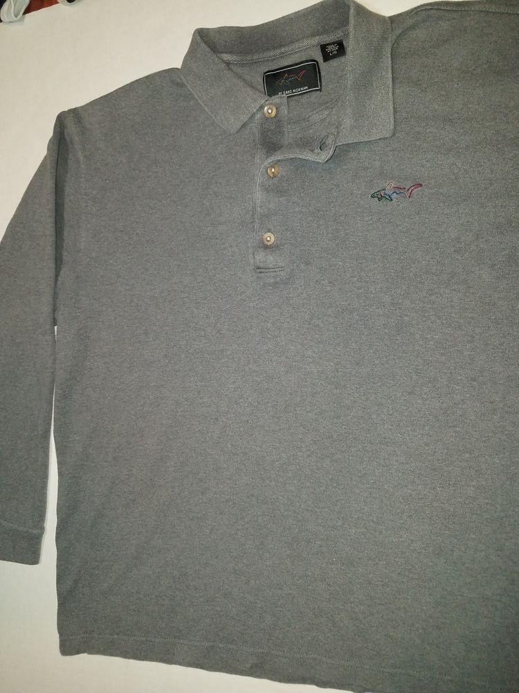 Greg Norman Polo Golf Shirt Mens L Blue Shark Logo Long Sleeve 3