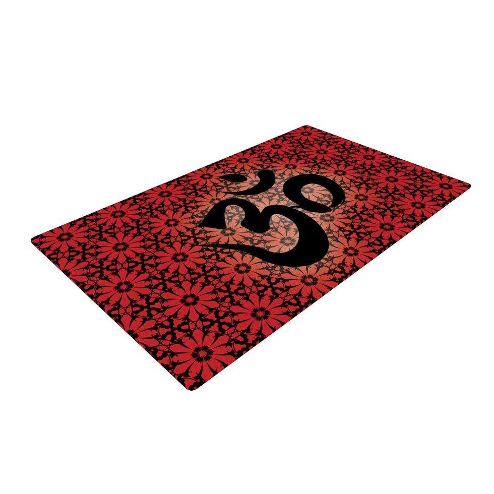"KESS Original ""Om Red"" Red Black Woven Area Rug"