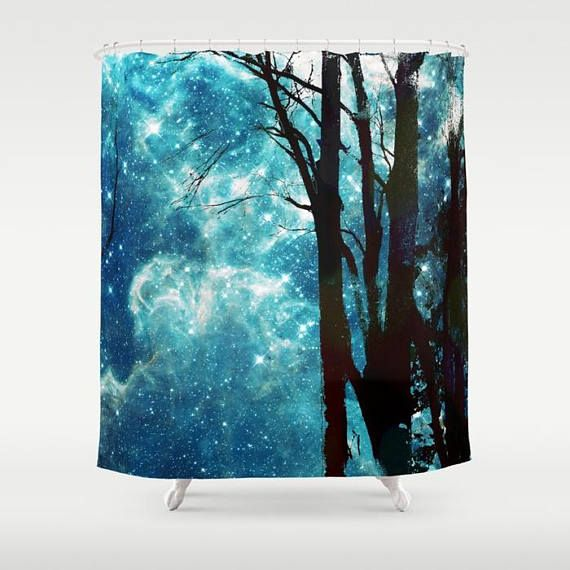 Night Sky Shower Curtain Trees Stars Galaxy