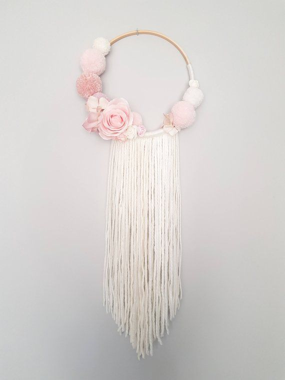 Pompom floral wall hanging dream catcher nursery decor baby shower decorations girl nursery - Tenture chambre bebe ...