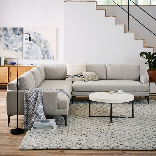 L Shaped Couch Living Room Ideas Discounted Sets Andes Sectional Family Sofa Stone Twill West Elm
