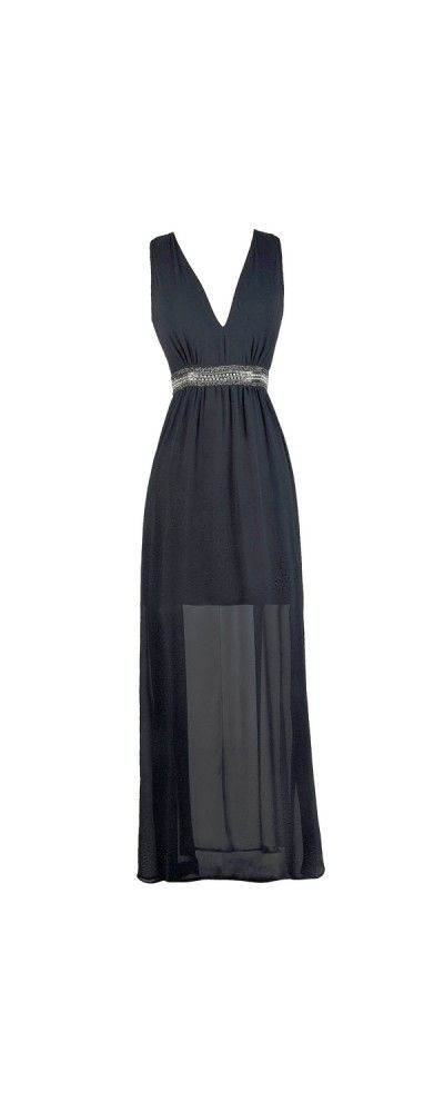 1920s Glamour Embellished Maxi Dress in Navy | 1920s glamour, Navy ...