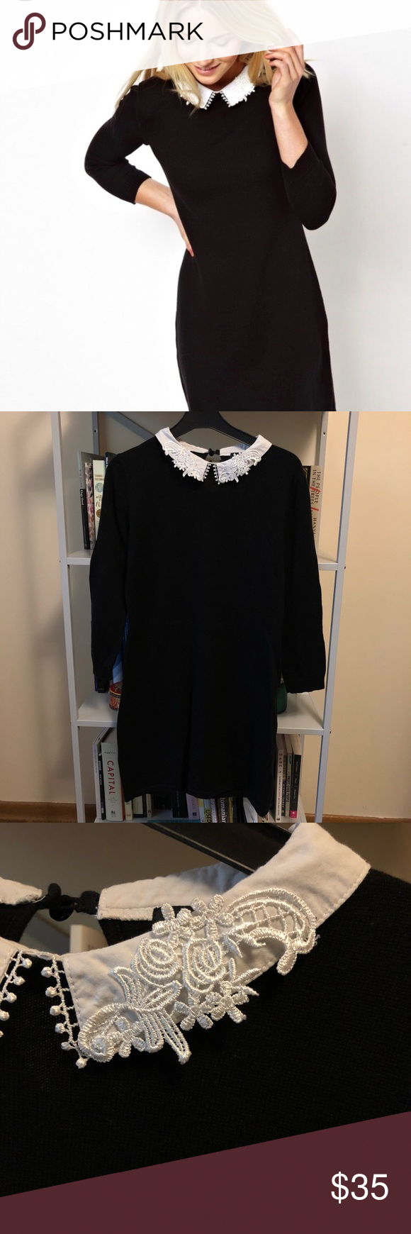 4e7516789740 ASOS dress with lace collar Knit black dress from ASOS with white collar  and lace trimmings. Fastens with button at back of neck. Sleeves are 3/4  length.