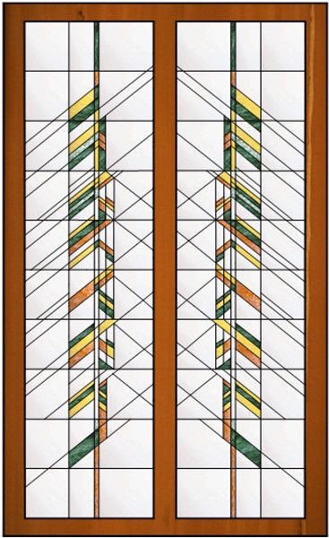 Vertical Stained Glass Window With Frank Lloyd Wright