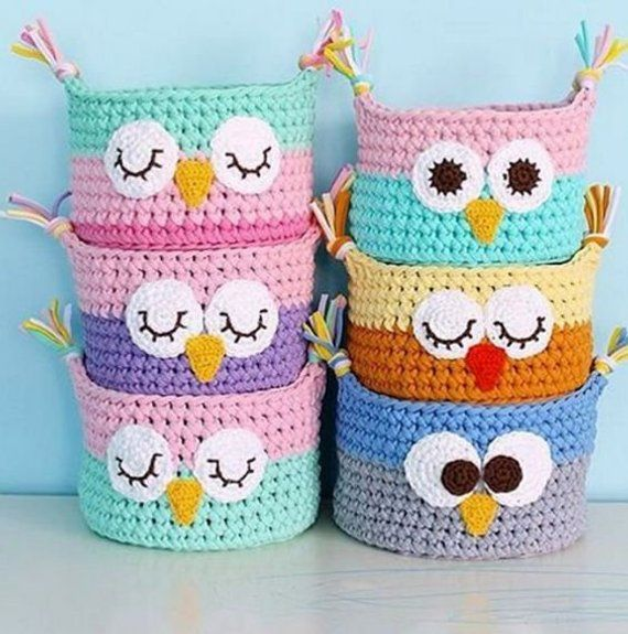 Crochet baskets. Knitted baskets for the house. Baby baskets. Baskets to store toys. Interior basket