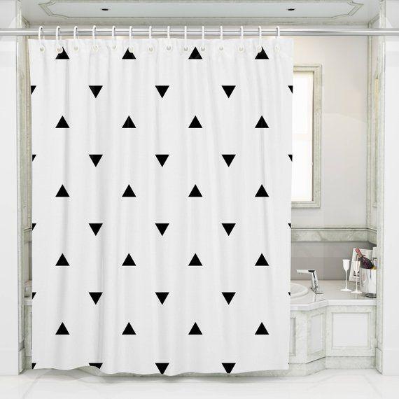 Geometric Shower Curtain Black White Design Bath Desig