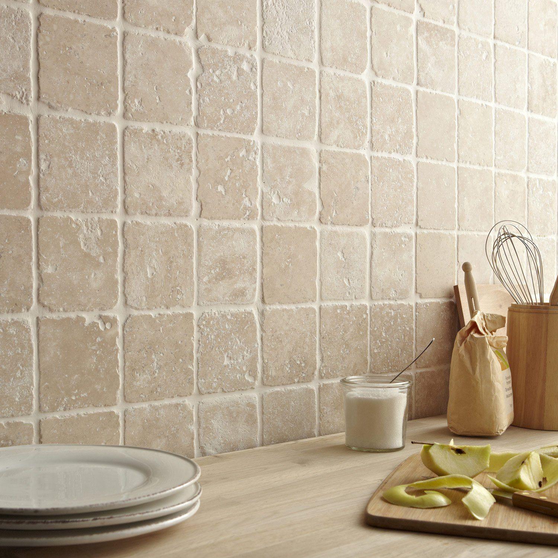Mosaique Sol Et Mur Mineral Ivoire 10 X 10 Cm Leroy Merlin Carrelage Mural Cuisine Travertin Carrelage Cuisine