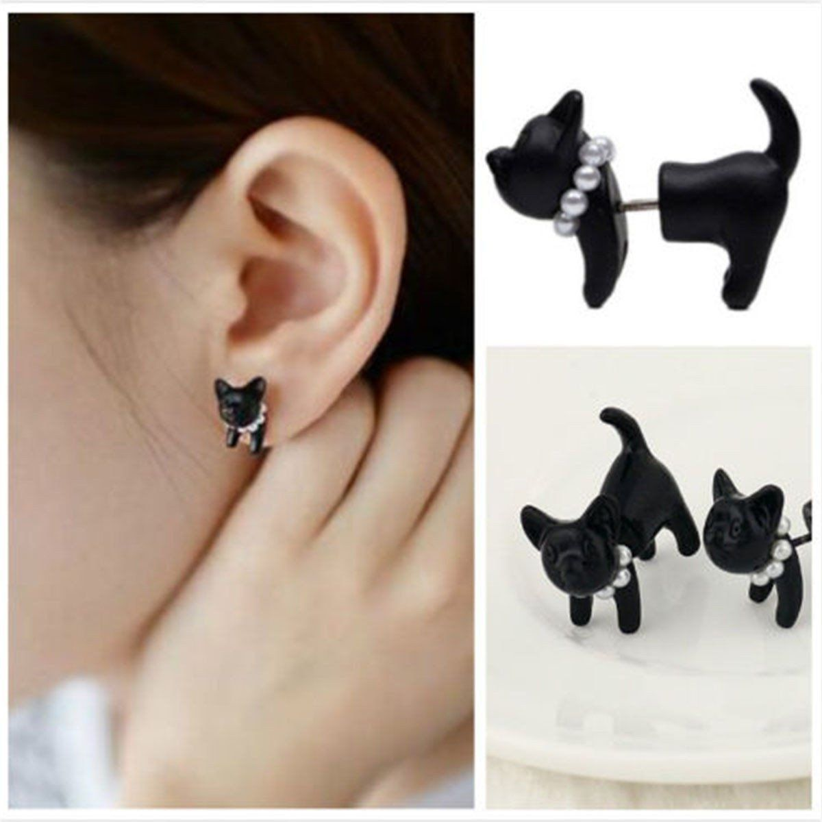Pair Of Cute Cat Pearl Earring