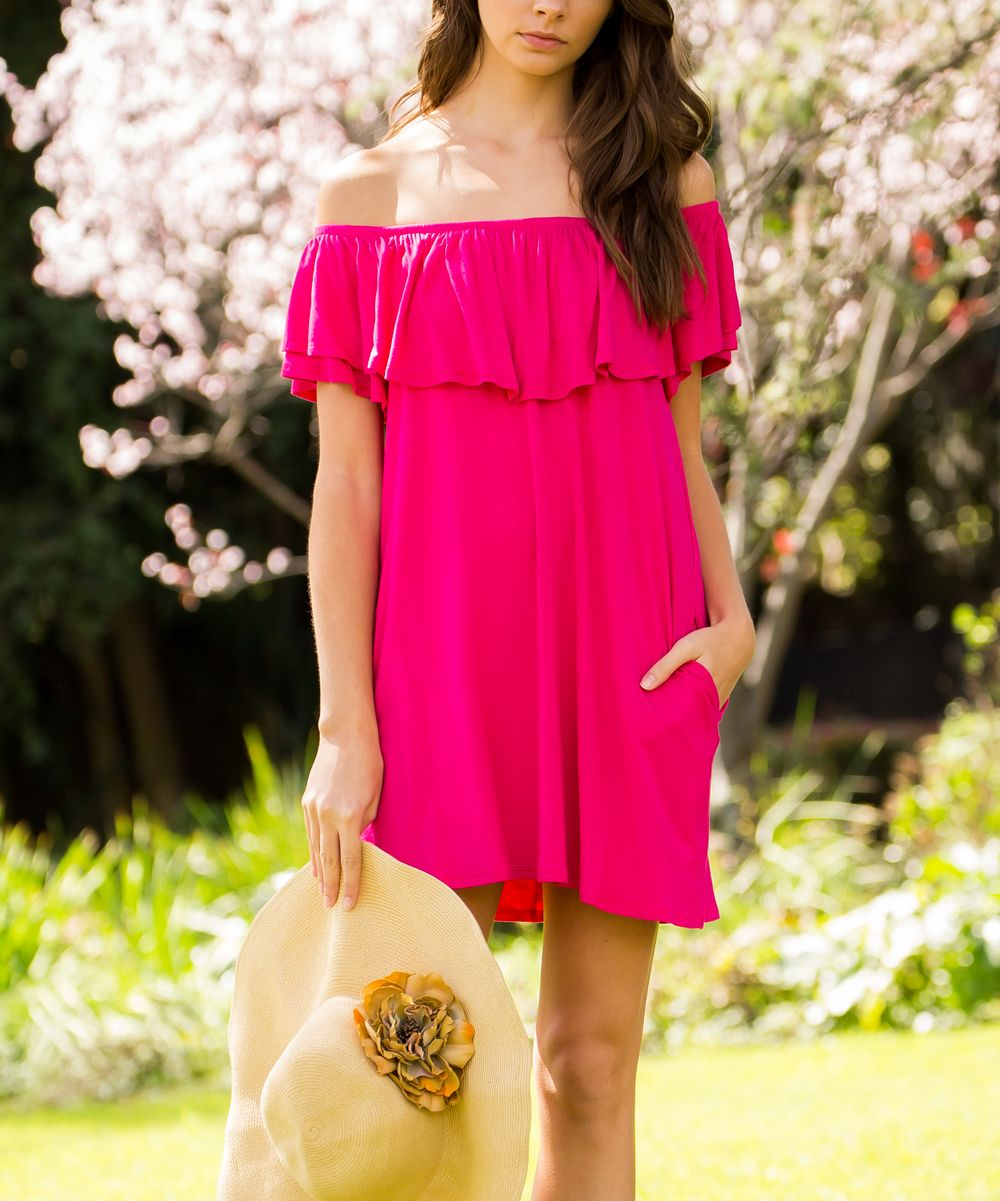 Cerise pink bridesmaid dress  Fuschia FlutterSleeve OffShoulder Dress  Flutter sleeve and Products