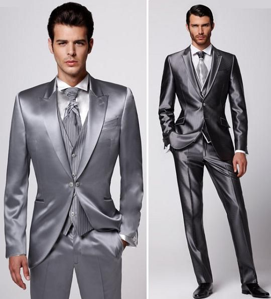 Brautkleid Formen: Grey Shiny Satin Suit For Men