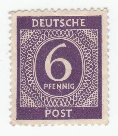 1946 German Deutsche Post 6 Pfennig Stamp Unused, XF or