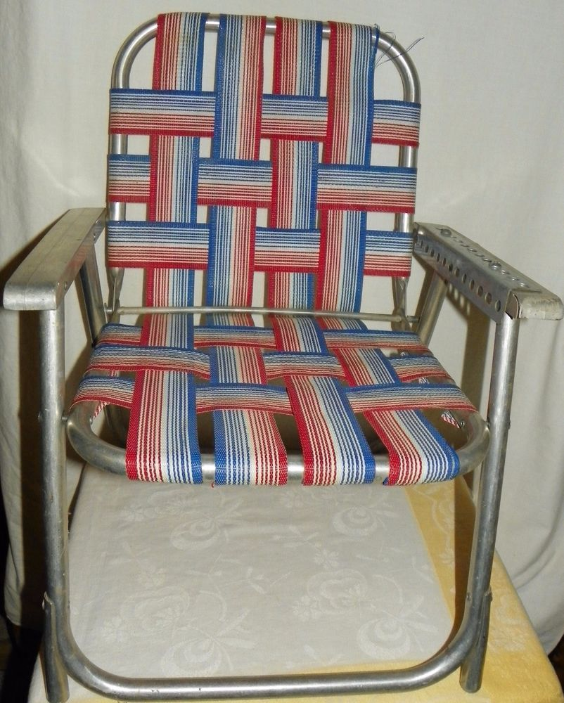 Vtg Aluminum Red Blue White Webbed Folding Chair Child Kid Size