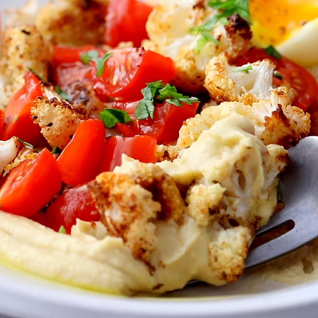 Roasted Cauliflower Hummus Bowls These Roasted Cauliflower Hummus Bowls are LIFE-CHANGING. A bed of