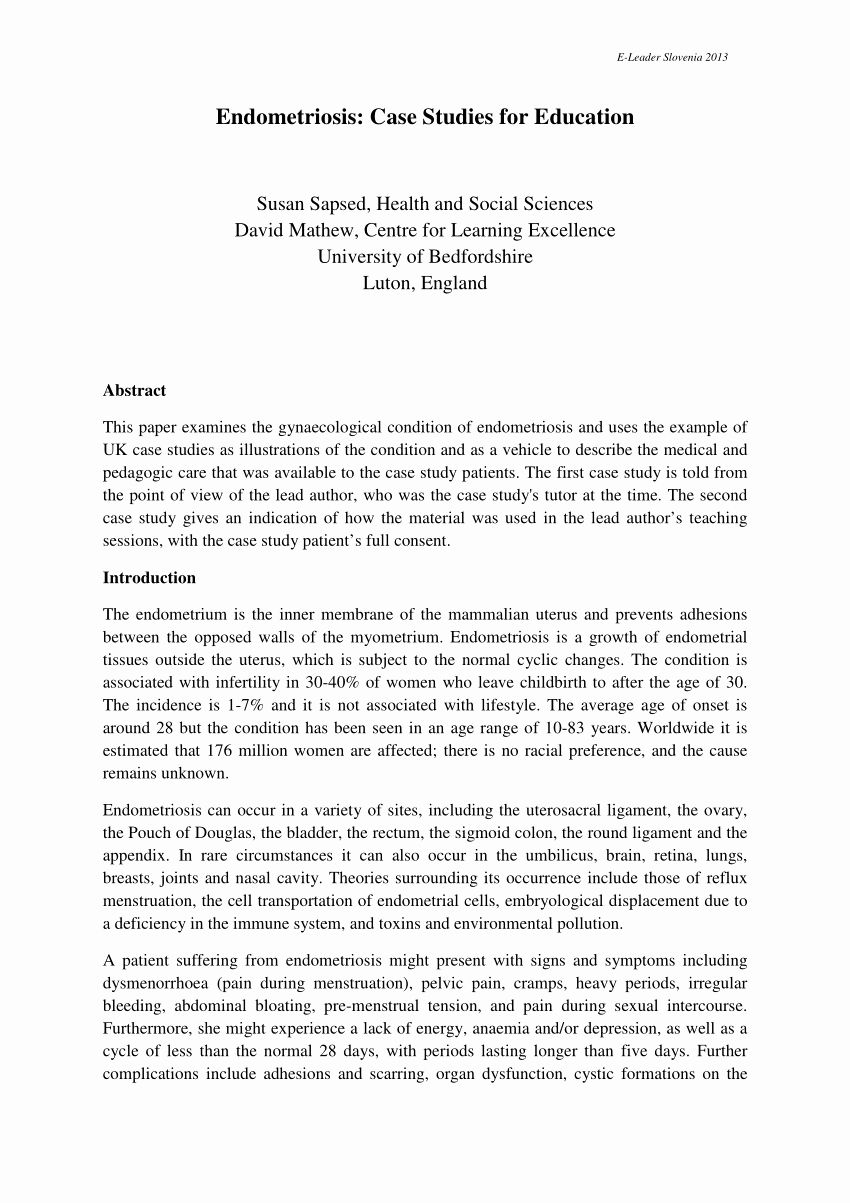 Example Of Case Studie Awesome Pdf Endometriosi Stu S For Education Study Social Work Essay Examples