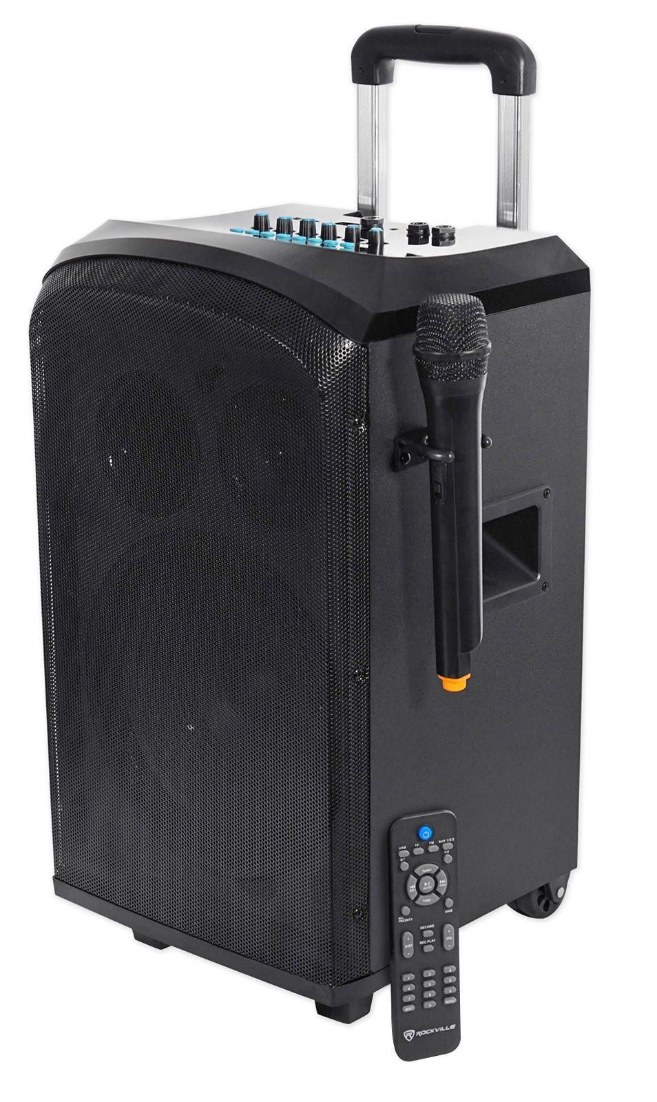 Rockville Rockngo 10 Powered Rechargable Pa Speaker W Bluetooth Wireless Mic Huge Power 2 Mic In Xl Mini Wireless Speaker Wireless Speakers Pa Speakers