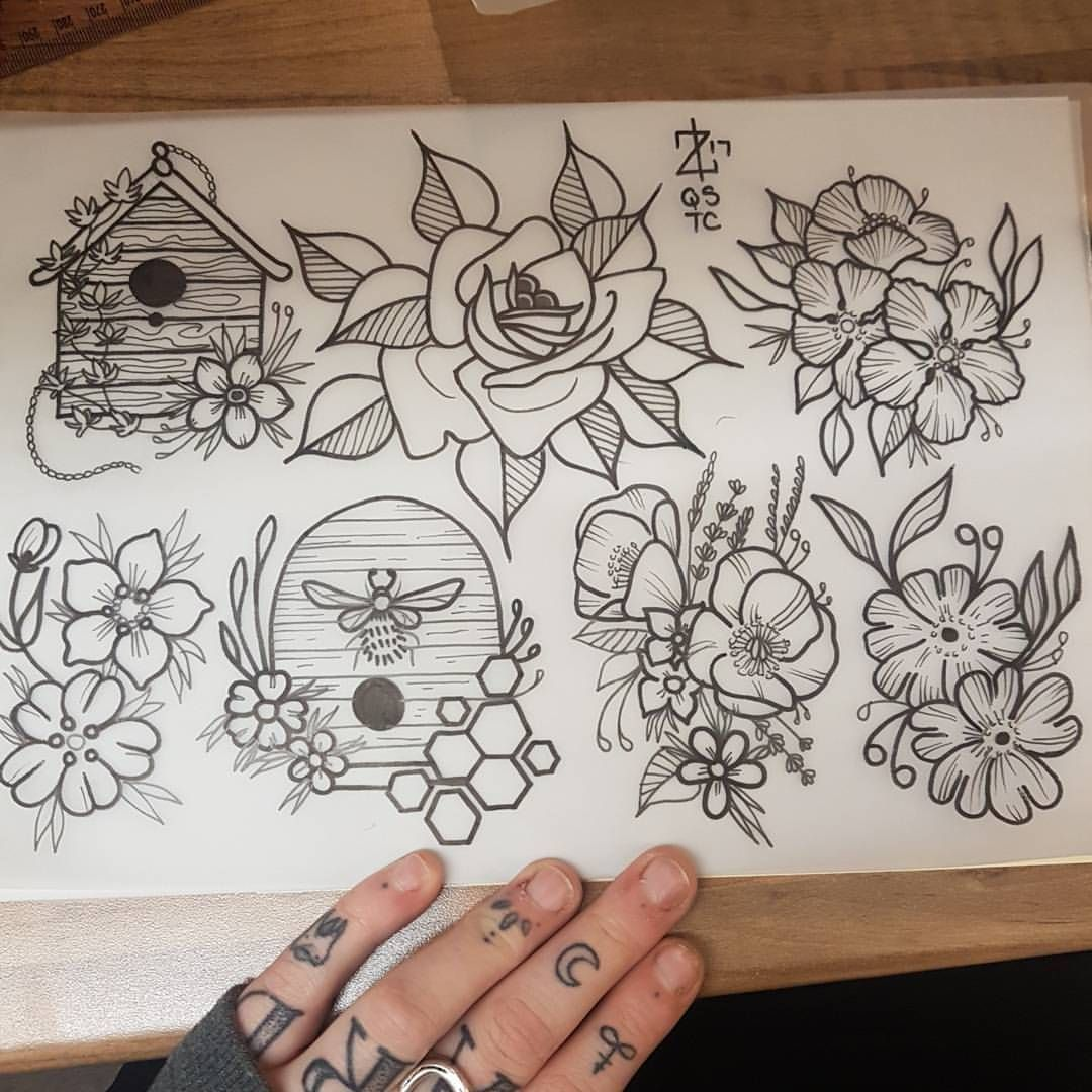 Tattoo Traditional Neotraditional Neotrad Traditional Apprentice Tattooapprentice Art Artist Bee Tattoo Traditional Tattoo Flowers Traditional Tattoo