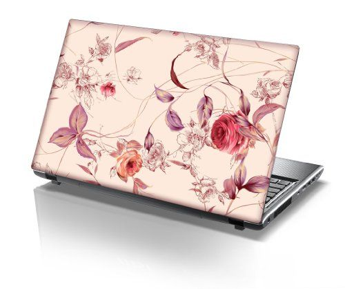 """TaylorHe 13/""""-14/"""" Laptop Skin Vinyl Sticker Decal Protection Cover Flowers Floral"""