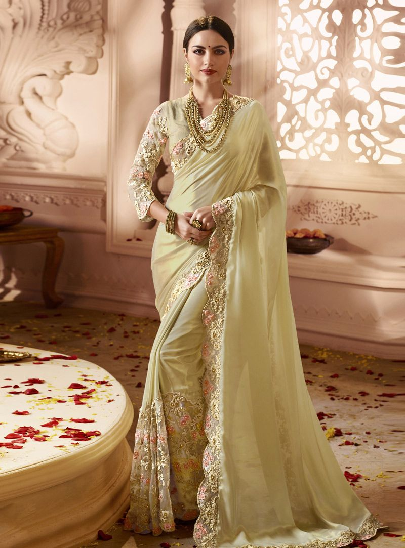 7ea8a3b95a Buy Light Yellow Satin Festival Wear Saree 149505 with blouse online at  lowest price from vast collection of sarees at Indianclothstore.com.
