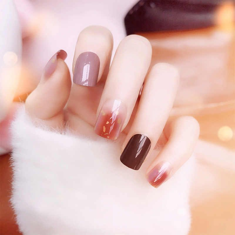 Women Korean Style Simple Fake Nail Color Rendering Full Cover  #koreannailar #koreannailart