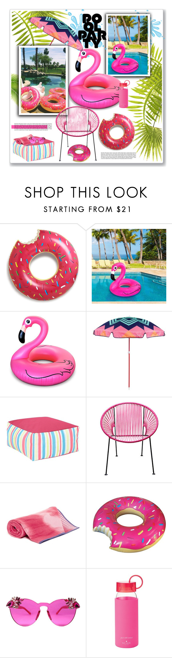 """pool floats"" by nanawidia ❤ liked on Polyvore featuring interior, interiors, interior design, home, home decor, interior decorating, Sunnylife, Manduka, Kate Spade and contestentry"
