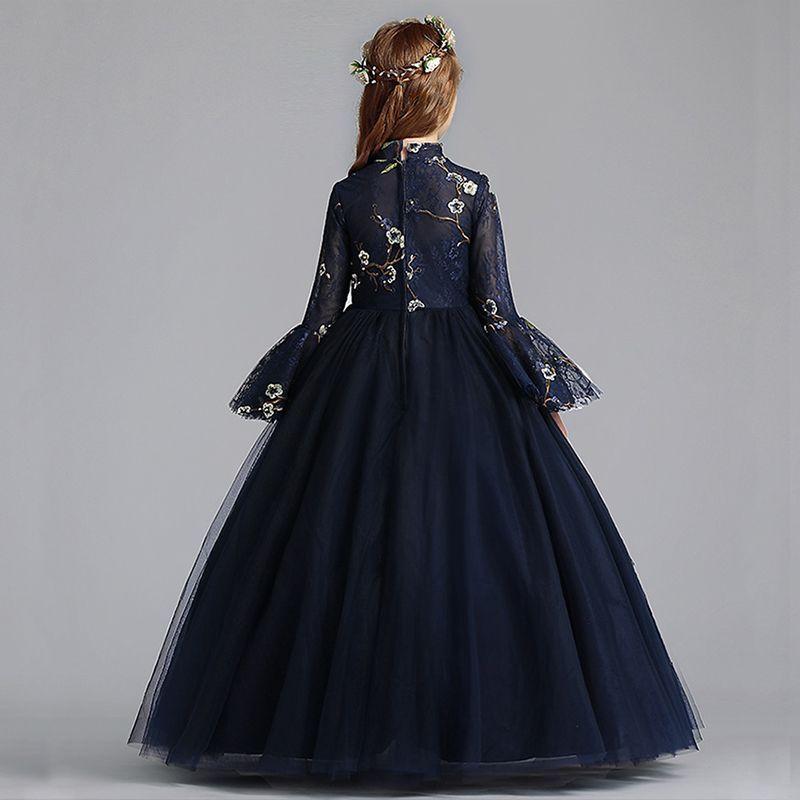 Chinese style navy blue flower girl dresses 2019 aline
