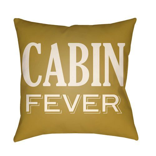 Lodge Cabin Cabin Fever Mustard and Beige 20 x 20 In. Pillow with Poly Fill