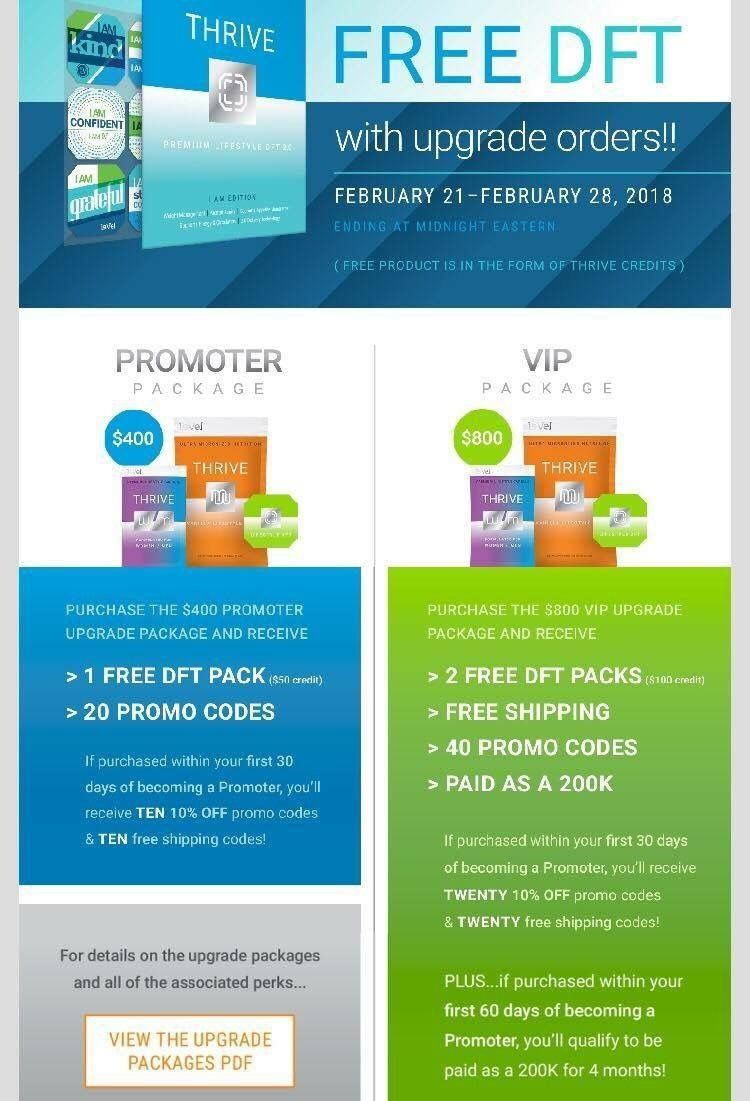 Thrive what a awesome time to be a promoter or a customer
