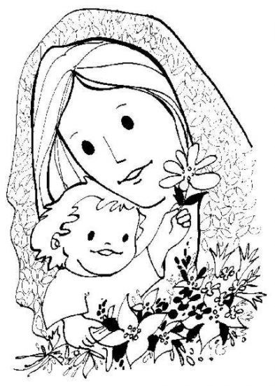 Simple and Sweet Madonna and Child Catholic Coloring Page | CCD ...
