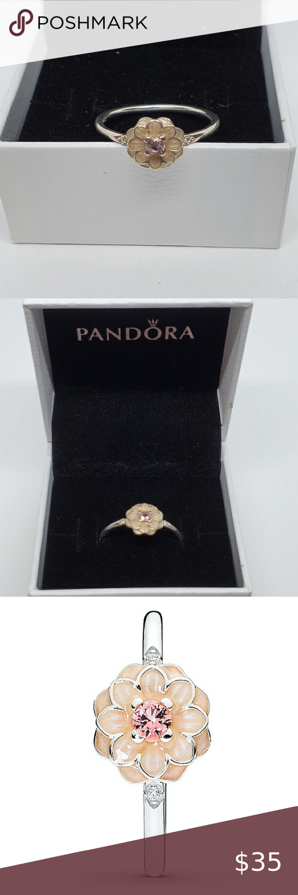 Pandora Dahlia Flower Ring 190985nbp 58 8 5 In 2020 Flower Ring Dahlia Flower Womens Jewelry Rings