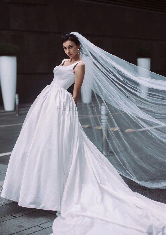 Satin Sleeveless Cathedral Train With Sashes Wedding Dress