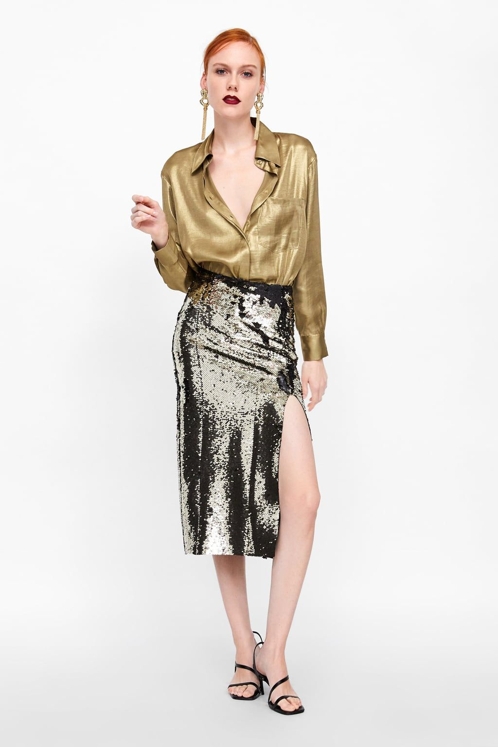 102e35ee0 Image 1 of SEQUIN SKIRT from Zara | holiday party! | Sequin skirt ...