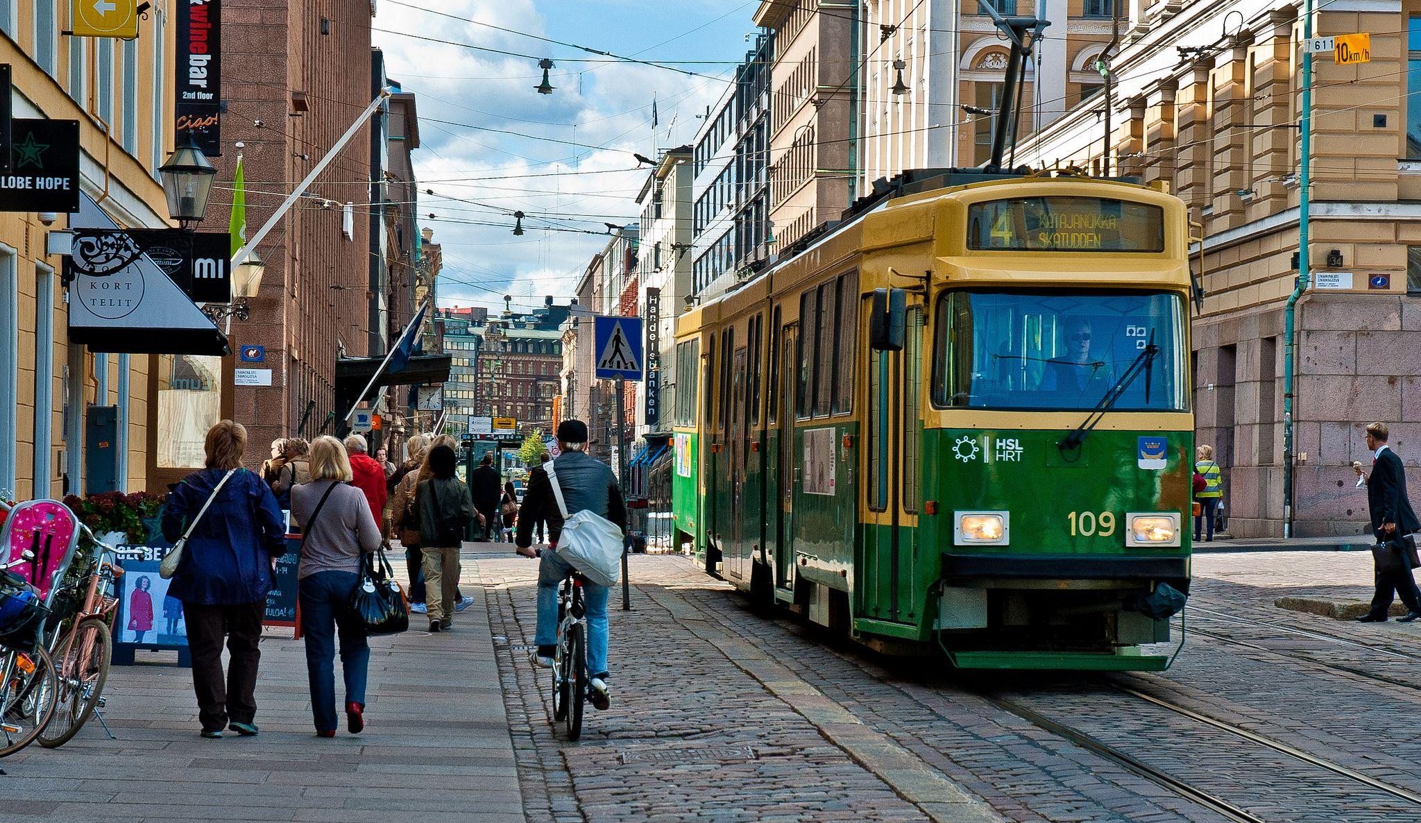 Tram Street In Helsinki Finland City Clock 7 Finland