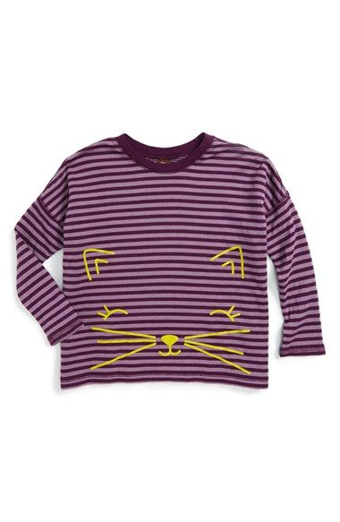c9c37107f Free shipping and returns on Tea Collection Fuwafuwa Double Knit Top  (Toddler Girls, Little Girls & Big Girls) at Nordstrom.com. A cute cat peers  out at her ...