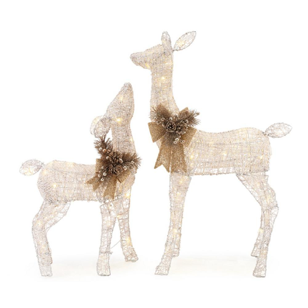 Home Accents Holiday 3 Ft Led Lighted White Deer And Doe In 2020 Deer Decor Christmas Deer Decorations Outdoor Christmas