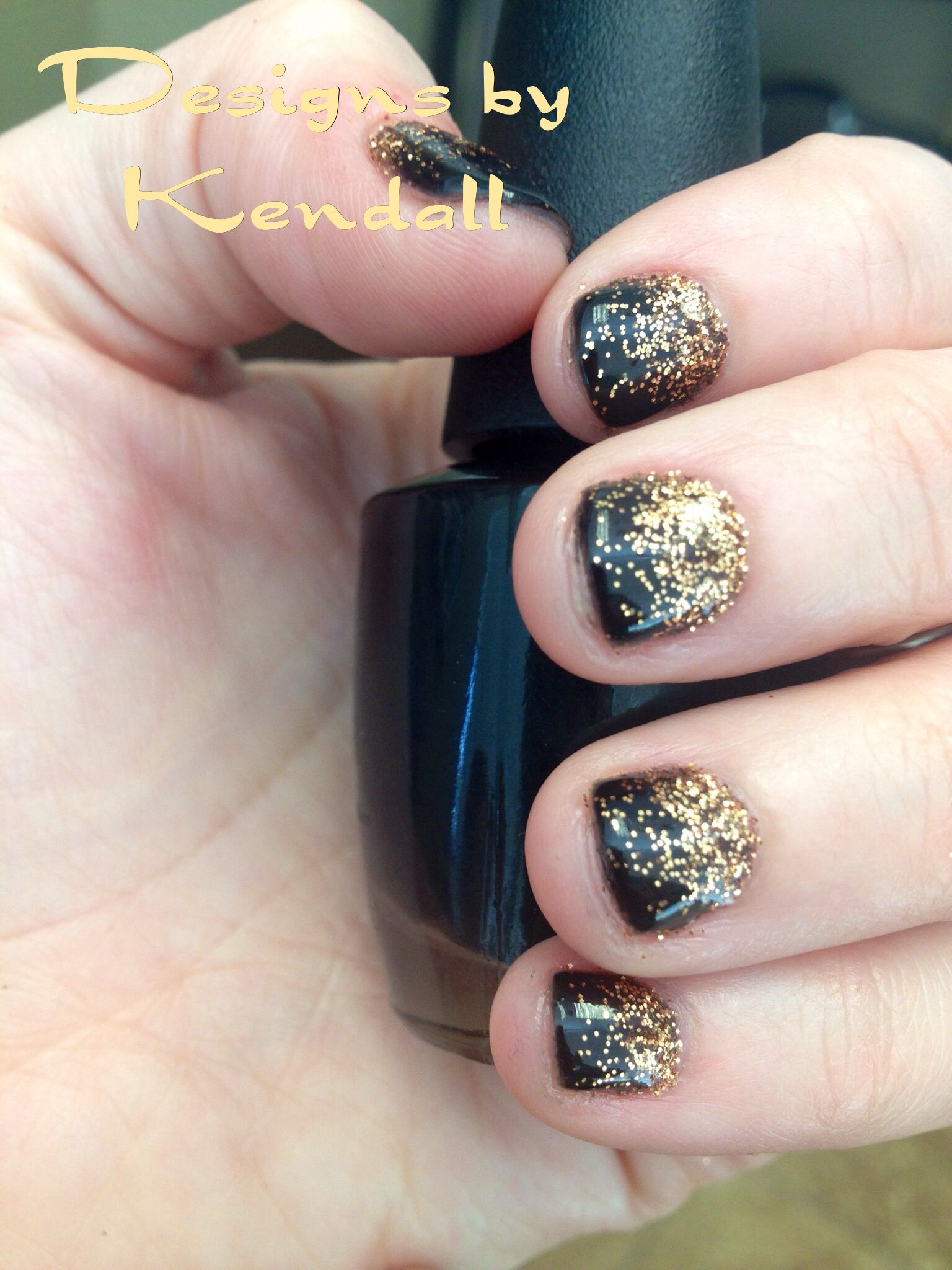 Black shellac with gold glitter ombré  Nail designs | Nail
