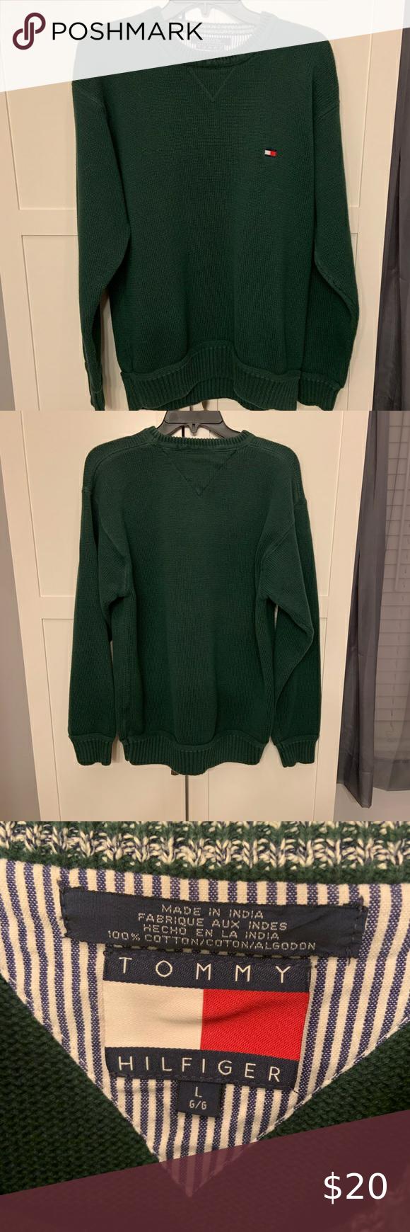 Men S Tommy Hilfiger Green Sweater Size Large Crochet Ladies Tops Tommy Hilfiger Crew Neck Sweater Men [ 1740 x 580 Pixel ]