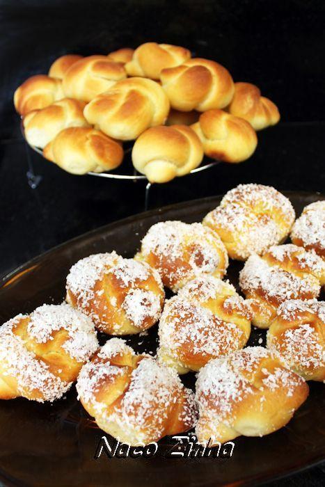 Nó-de-sogra assado é um pãozinho torcido em nó, como o próprio nome sugere. Pode ser feito sem cobertura ou polvilhado com coco.