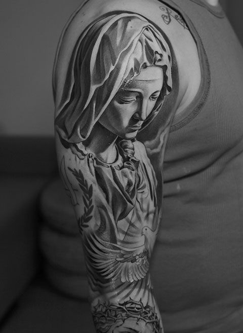Statut Sainte Vierge Tatouages Tatouage Tatouage Religieux Et