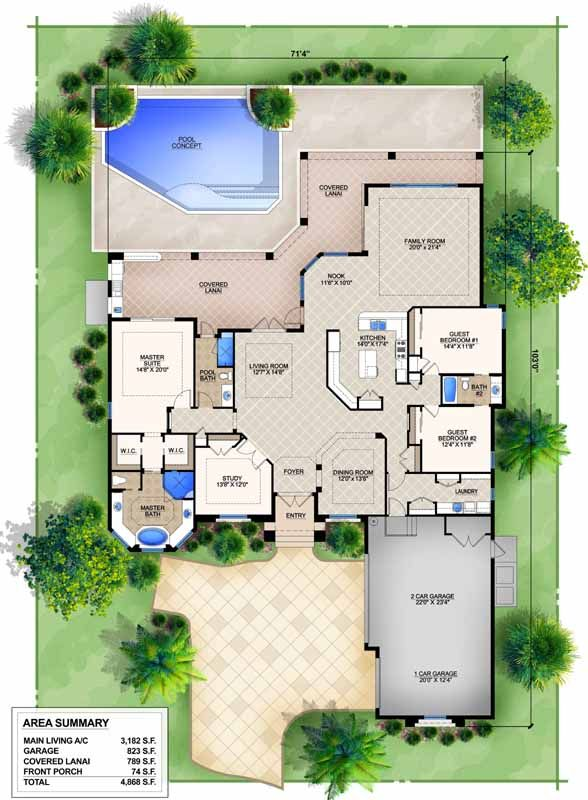 Florida Style House Plans 3182 Square Foot Home 1 Story 3 Bedroom And 3 3 Bath 3 Garage Stall Pool House Plans Mediterranean House Plans Indoor Pool House