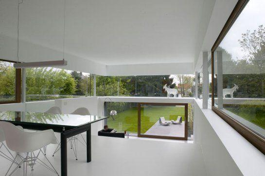 Interieur zicht met uitzicht op tuin gip inspiratie koen